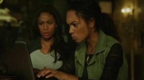 Abbie and Jenny do some computer research on Sleepy Hollow