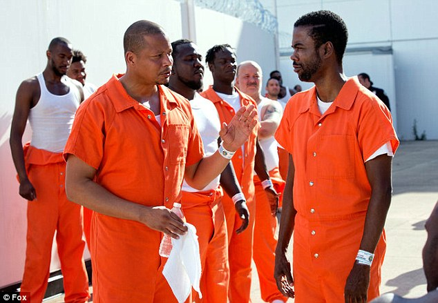 Chris Rock as Frank Gathers in the prison yard with Lucious on Empire