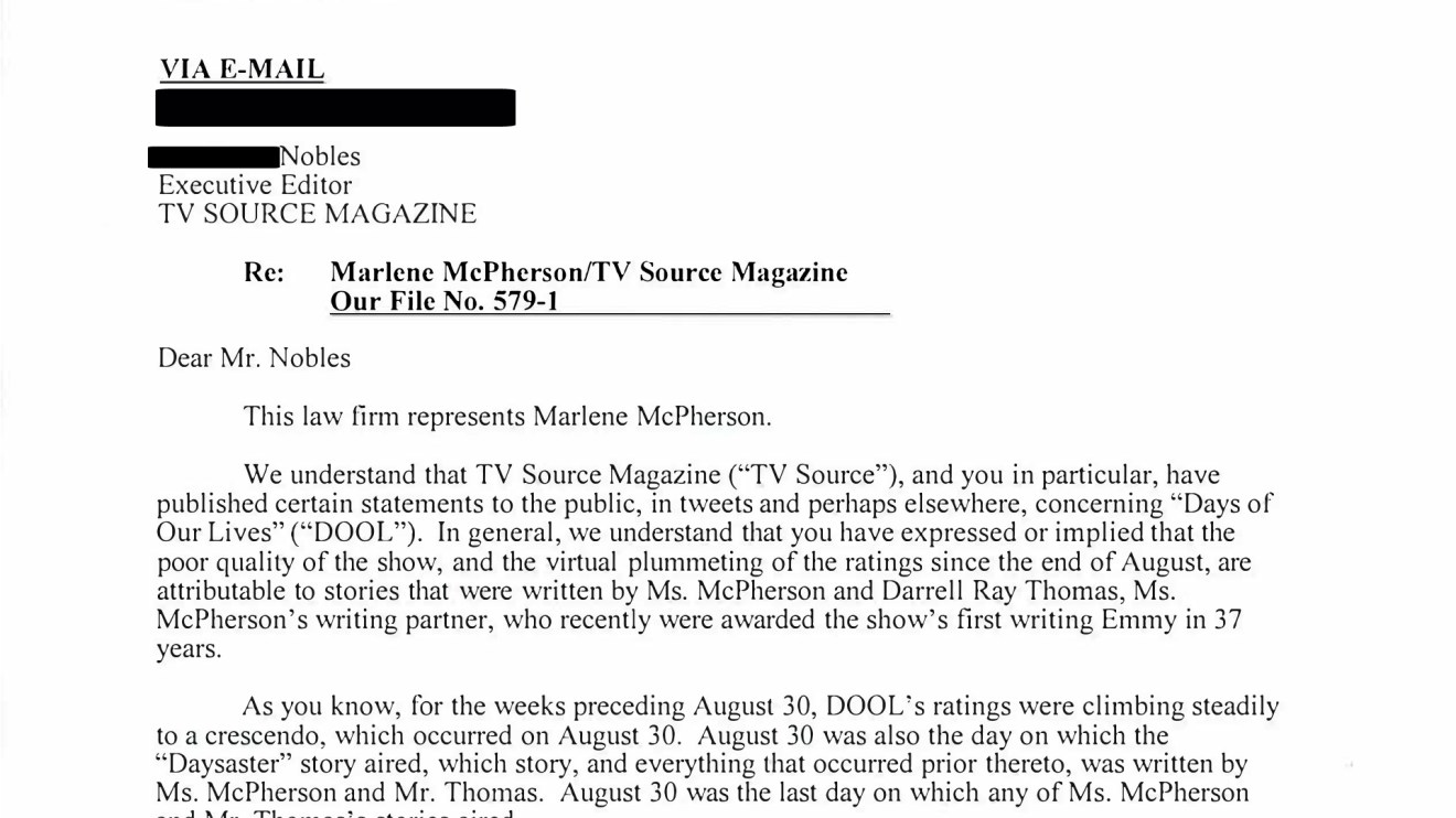 TVSource Responds To Legal Request From Former 'Days of our