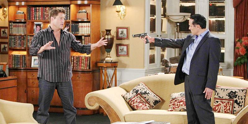 Sean Kanan (AJ Quartermaine) and Maurice Benard (Sonny Corinthos) in a scene airing on ABC's General Hospital. | Photo Credit: ABC