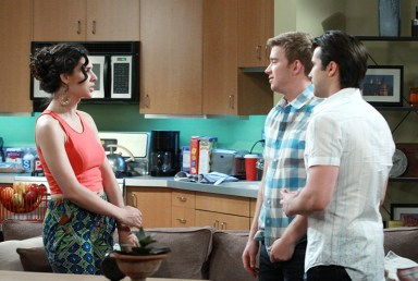 Gabi (Camila Banus), Will (Chandler Massey) and Freddie Smith representing the new 'Days' generation; Photo courtesy NBC Universal