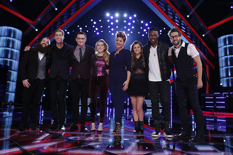 """THE VOICE -- """"Live Show"""" Episode 515B -- Pictured: (l-r) Cole Vosbury, Ray Boudreaux, James Wolpert, Caroline Pennell, Tessanne Chin, Jacquie Lee, Matthew Schuler, Will Champlin -- (Photo by: Trae Patton/NBC)"""