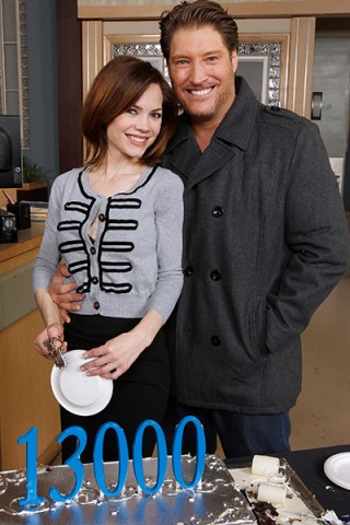 General Hospital stars Rebecca Herbst (Elizabeth) and Sean Kanan (AJ) celebrating during the 13,000 episode cake cutting. Photo Credit: ABC/Rick Rowell