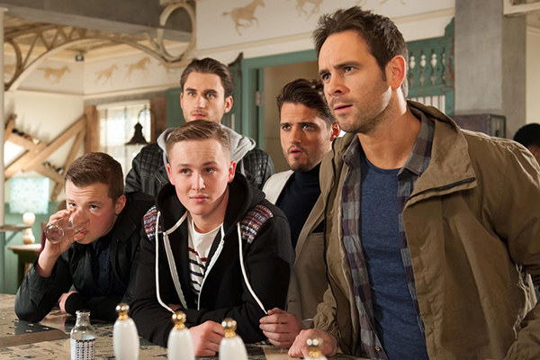 The troublemaking Roscoe brothers. Charlie Wernham as Robbie, Alfie Browne-Sykes as Jason, Ayden Callaghan as Joe, Charlie Clapham as Freddie, Fabrizio Santino as Ziggy. Photo courtesy Lime Pictures/Channel 4