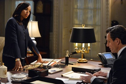 """SCANDAL - """"We Do Not Touch the First Ladies"""" - Olivia (Kerry Washington) tries to set Fitz (Tony Goldwyn) straight; Photo Credit: ABC/Eric McCandless"""