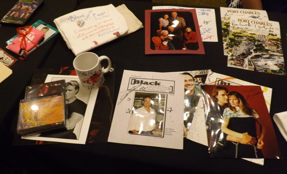 Various memorabilia and merchandise available to purchase at the event.
