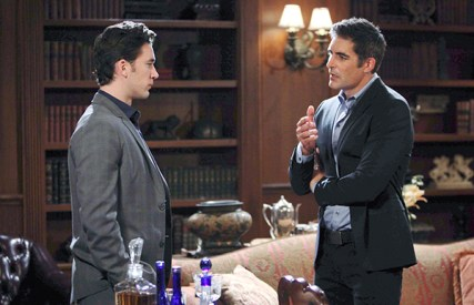 Rafe (Galen Gering) has some questions for Chad (Billy Flynn). Photo Credit: © Howard Wise/jpistudios.com
