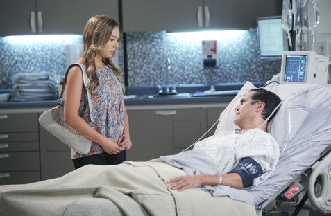 Kristina (Lexi Ainsworth) returns to support her ailing father Sonny (Maurice Benard). Photo Credit: © Howard Wise/jpistudios.com.