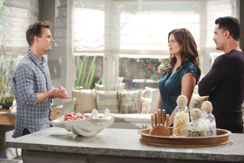 Wyatt (Darin Brooks) searches for allies in Katie (Heather Tom) and Bill (Don Diamont). Photo Credit: © Howard Wise/jpistudios.com