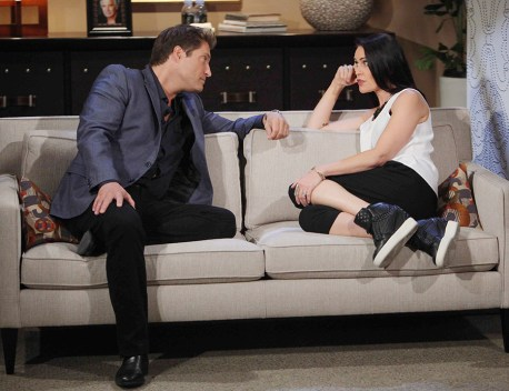 Deacon (Sean Kanan) is a calming force for Quinn (Rena Sofer). Photo Credit: © Howard Wise/jpistudios.com