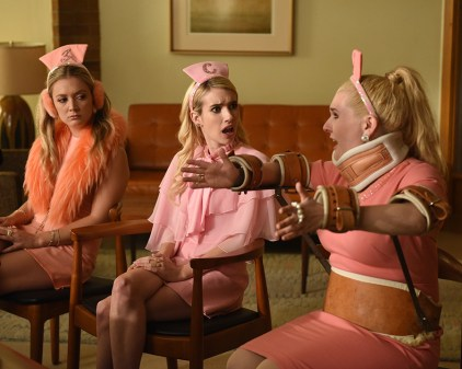 """SCREAM QUEENS: L-R: Billie Lourd, Emma Roberts and Abigail Breslin in the all-new """"Chanel Pour Homme-Icide"""" episode of SCREAM QUEENS airing Tuesday, Nov. 1 (9:00-10:00 PM ET/PT) on FOX. Cr: Michael Becker / FOX. © 2016 FOX Broadcasting Co."""