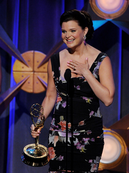 Actress Heather Tom accepts the award for Outstanding Lead Actress at the 39th Annual Daytime Entertainment Emmy Awards at the Beverly Hilton Hotel on June 23, 2012 in Beverly Hills, California.