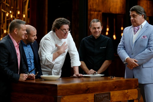 MELBOURNE, AUSTRALIA - NOVEMBER 30TH 2015;Contestants and Judges during Master Chef Series 8 Immunity Challenge at the Centenary Hall Melbourne Showgrounds Masterchef Studios on the 30th of November 2015 in Melbourne Australia. (Photo by Martin Philbey) *** Local Caption ***Master Chef 8