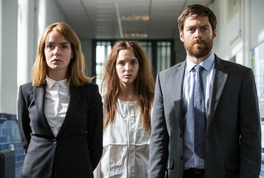 Picture shows: DS Merchant (VALENE KANE), Ivy (JODIE COMER) and DI Carne (RICHARD RANKIN)