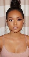 Soft natural makeup look on brown skin woman of color lipstick