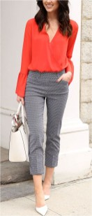 2 coral bell sleeve blouse with patterned pants casual office outfit source mariesbazaar.com