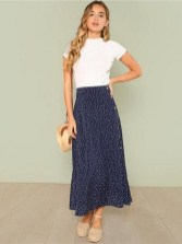 Bohemian polka dot mid long button skirt casual vintage