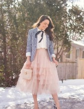 Casual romantic ruffle tulle with jacket