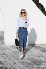 Classic long button skirt casual vintage outfits