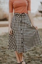 Classic long button skirt casual vintage