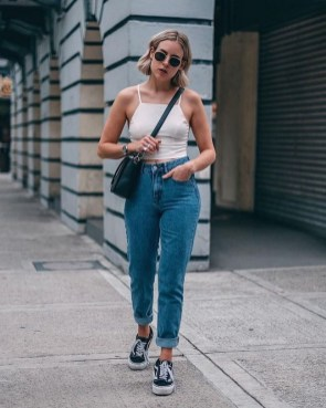 Cool mom jeans outfits high waisted top