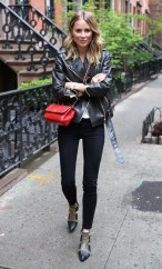 Fall street style jacket red bag