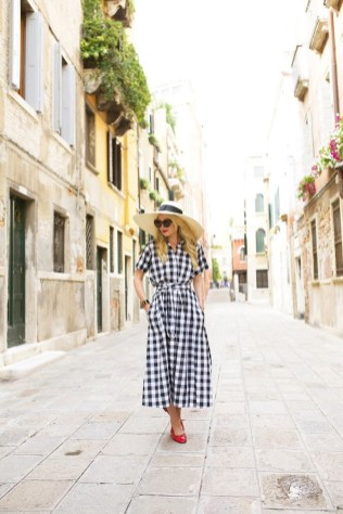 Gingham dress with hat