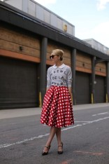 Gingham skirt with collared top and sweater