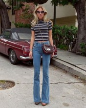 Flared jeans and heels