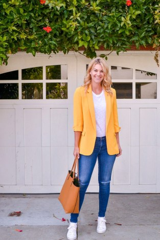 Beautiful yellow outerwear outfit tote bag fashion with white shoes