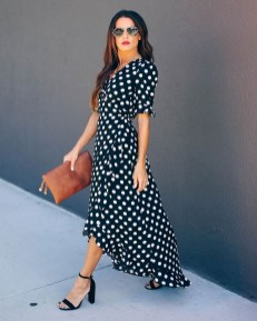 Delphina polka dot high low wrap maxi dress