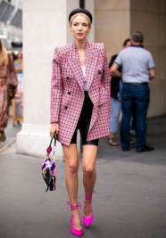 Pink blazer with pink shoes and bermuda shorts