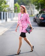Pink blazer with t shirts and bermuda shorts