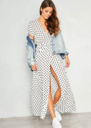 White polkadot wrap front maxi dress