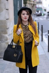 Yellow coat, spring outfit with blues printed