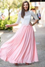 Absolute dream in this peachy maxi skirt