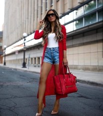 Redblazer bodysuit with levi's high rise shorts and women's sandals