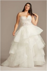 3 printed tulle tiered skirt plus size wedding dress sourcedavidsbridalcom