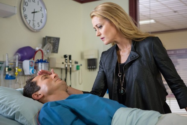 Pictured: (l-r) Sasha Roiz as Captain Sean Renard, Louise Lombard as Elizabeth -- (Photo by: Scott Green/NBC)