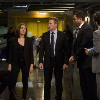 "THE BLACKLIST -- ""The Scimitar"" Episode 207 -- Pictured: (l-r) Mozhan Marno as Samar Navabi, Megan Boone as Elizabeth Keen, Diego Klattenhoff as Donald Ressler, Harry Lennix as Harold Cooper, Amir Arison as Aram Mojbtai -- (Photo by: Virginia Sherwood/NBC)"