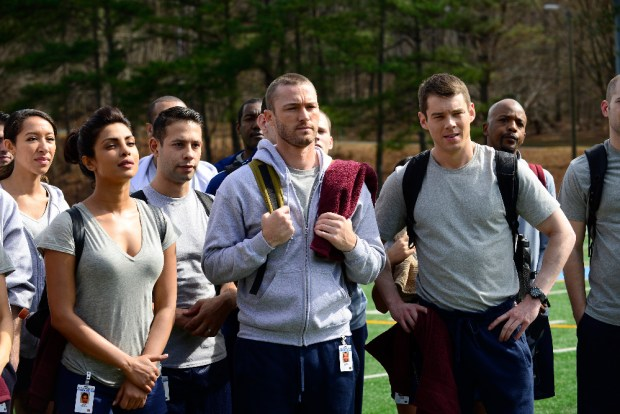 "QUANTICO - A diverse group of recruits has arrived at the FBI Quantico Base for training. They are the best, the brightest and the most vetted, so it seems impossible that one of them is suspected of masterminding the biggest attack on New York City since 9/11. ""Quantico"" stars Priyanka Chopra as Alex, Dougray Scott as Liam, Jake McLaughlin as Ryan, Aunjanue Ellis as Miranda, Yasmine Al Massri as Nimah, Johanna Braddy as Shelby, Tate Ellington as Simon and Graham Rogers as Caleb. ""Quantico"" was written by Josh Safran. Executive producers are Josh Safran, Mark Gordon and Nick Pepper. ""Quantico"" is produced by ABC Studios. (ABC/Guy D'Alema) PRIYANKA CHOPRA, JAKE MCLAUGHLIN, BRIAN J. SMITH"