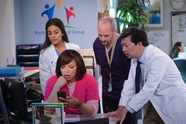 """DR. KEN - Doctor-turned-actor/comedian Ken Jeong (""""Community,"""" """"The Hangover""""), plays Dr. Ken, a brilliant physician with no bedside manner. He is always trying to be a good doctor as well as a good husband and dad to his two kids. However, these good intentions have a way of driving everyone crazy at work and at home. Luckily, his therapist wife, Allison, is just the right partner to keep things sane. """"Dr. Ken"""" stars Ken Jeong as Dr. Ken, Suzy Nakamura as Allison, Tisha Campbell-Martin as Damona, Dave Foley as Pat, Jonathan Slavin as Clark, Albert Tsai as Dave and Krista Marie Yu as Molly. """"Dr. Ken was written by Jared Stern, Ken Jeong, and Mike O'Connell. Executive producers are Jared Stern, Ken Jeong, John Davis, John Fox and Mike Sikowitz, with Mike O'Connell as co-executive producer. """"Dr. Ken"""" is produced by Sony Pictures Television and ABC Studios.   (ABC/Danny Feld) KATE SIMSES, TISHA CAMPBELL-MARTIN, JONATHAN SLAVIN, KEN JEONG"""