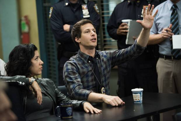"""BROOKLYN NINE-NINE: Det. Peralta (Andy Samberg, R) eagerly volunteers for a case in the """"Det. Dave Majors"""" episode of BROOKLYN NINE-NINE airing Sunday, May 3 (8:30-9:00 PM ET/PT) on FOX. ©2015 Fox Broadcasting Co. CR: Eddy Chen/FOX."""
