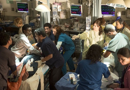 "CODE BLACK, based on the award-winning documentary by Ryan McGarry, is CBS's heart-pounding new medical drama that takes place in the busiest, most notorious ER in the nation where the staggering influx of patients can outweigh the limited resources available to the extraordinary doctors and nurses whose job is to treat them all – creating a condition known as Code Black.  At the heart of the ER's controlled chaos is Residency Director Dr. Leanne Rorish (Marcia Gay Harden, center/right in white), renowned for successfully performing high risk procedures in Center Stage, the trauma area reserved for the most critical cases.  Her confidante, Jesse Sallander (Luis Guzman, center/left wearing white gloves), is an amiable seen-it-all senior nurse who manages the residents.  Also part of the mix is Dr. Neal Hudson  (Raza Jaffrey, at the foot of the patient on the left), an excellent physician who sometimes disagrees with Leanne's ""cowboy"" approach, and Mario Savetti (Benjamin Hollingsworth, at the head of the patient on the left), one of Leanne's four new first year residents. Photo: Neil Jacobs/CBS ©2015 CBS Broadcasting, Inc. All Rights Reserved"