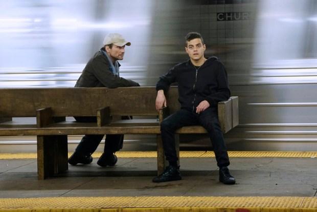 "MR. ROBOT -- ""hellofriend.mov"" Episode 101 -- Pictured: (l-r) Christian Slater as Mr. Robot, Rami Malek as Elliot -- (Photo by: Peter Kramer/USA Network)"