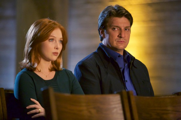 """CASTLE - """"What Lies Beneath"""" - When Castle's idol, a famously reclusive author, turns up dead, Castle is determined to solve his hero's murder. But as he and Beckett dig deeper, they discover that truth is stranger than fiction. """"What Lies Beneath"""" will air on MONDAY, OCTOBER 12 (10:01-11:00 p.m. ET/PT) on the ABC Television Network. (ABC/Greg Gayne) MOLLY QUINN, NATHAN FILLION"""