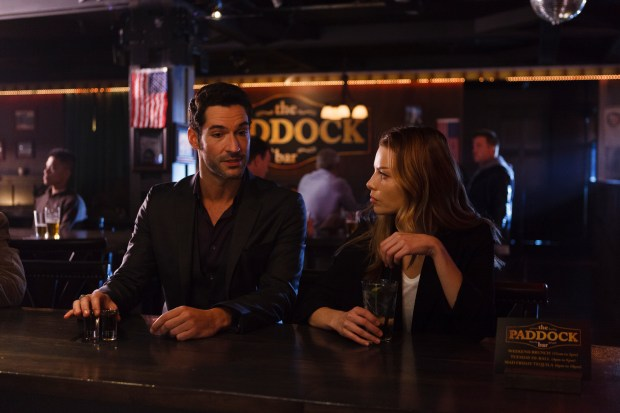 "LUCIFER: L-R:  Tom Ellis and Lauren German in the ""Sweet Kicks"" episode of LUCIFER airing Monday, Feb. 22 (9:01-10:00 PM ET/PT) on FOX. ©2016 Fox Broadcasting Co. CR: Michael Courtney/FOX"