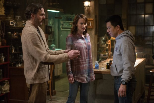 """GRIMM -- """"The Taming of the Wu"""" Episode 519 -- Pictured: (l-r) Silas Weir Mitchell as Monroe, Bree Turner as Rosalee Calvert, Reggie Lee as Sergeant Wu -- (Photo by: Scott Green/NBC)"""