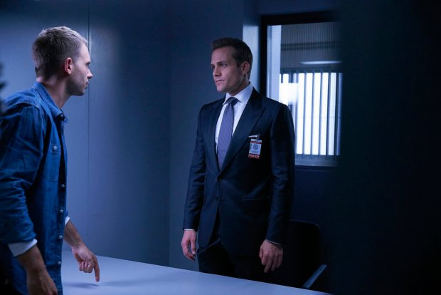 "SUITS -- ""Back on the Map"" Episode 603 -- Pictured: (l-r) Patrick J. Adams as Michael Ross, Gabriel Macht as Harvey Specter -- (Photo by: Shane Mahood/USA Network)"
