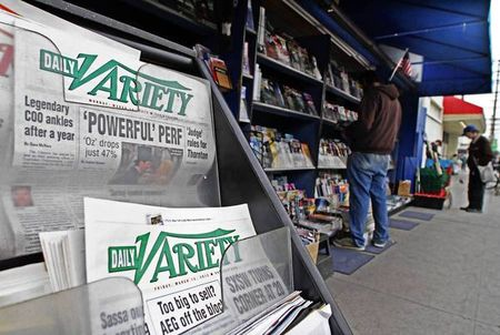 Daily Variety is sold at a newsstand.
